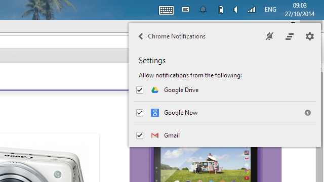 Google Chrome notifications settings